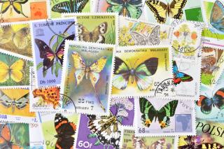 蝶の使用済み切手