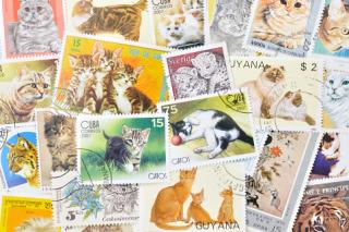 猫の使用済み切手