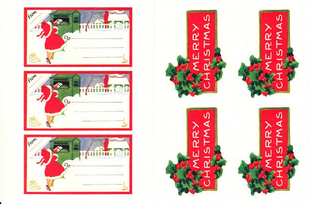 Cavallini 缶入りラベルシール/ビンテージクリスマス拡大画像2