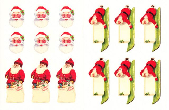 Cavallini 缶入りラベルシール/ビンテージクリスマス拡大画像3