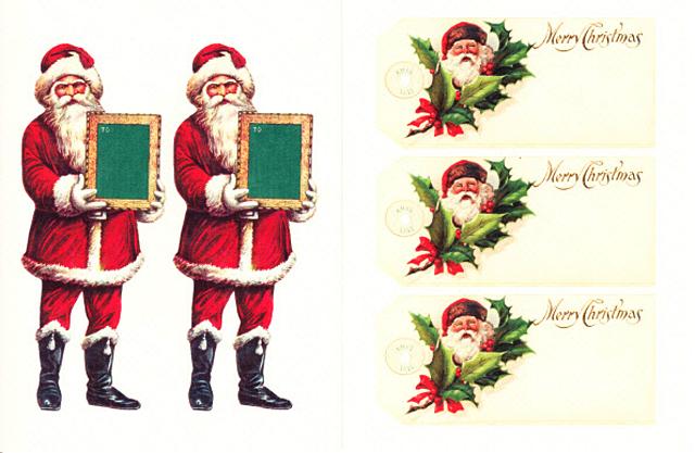 Cavallini 缶入りラベルシール/ビンテージクリスマス拡大画像6