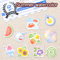 サマーフェイバリットシール/Summer watercolor