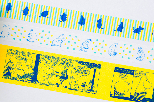 ムーミンマスキングテープの各色柄の拡大